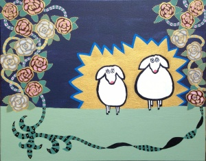 Libby paints sheep