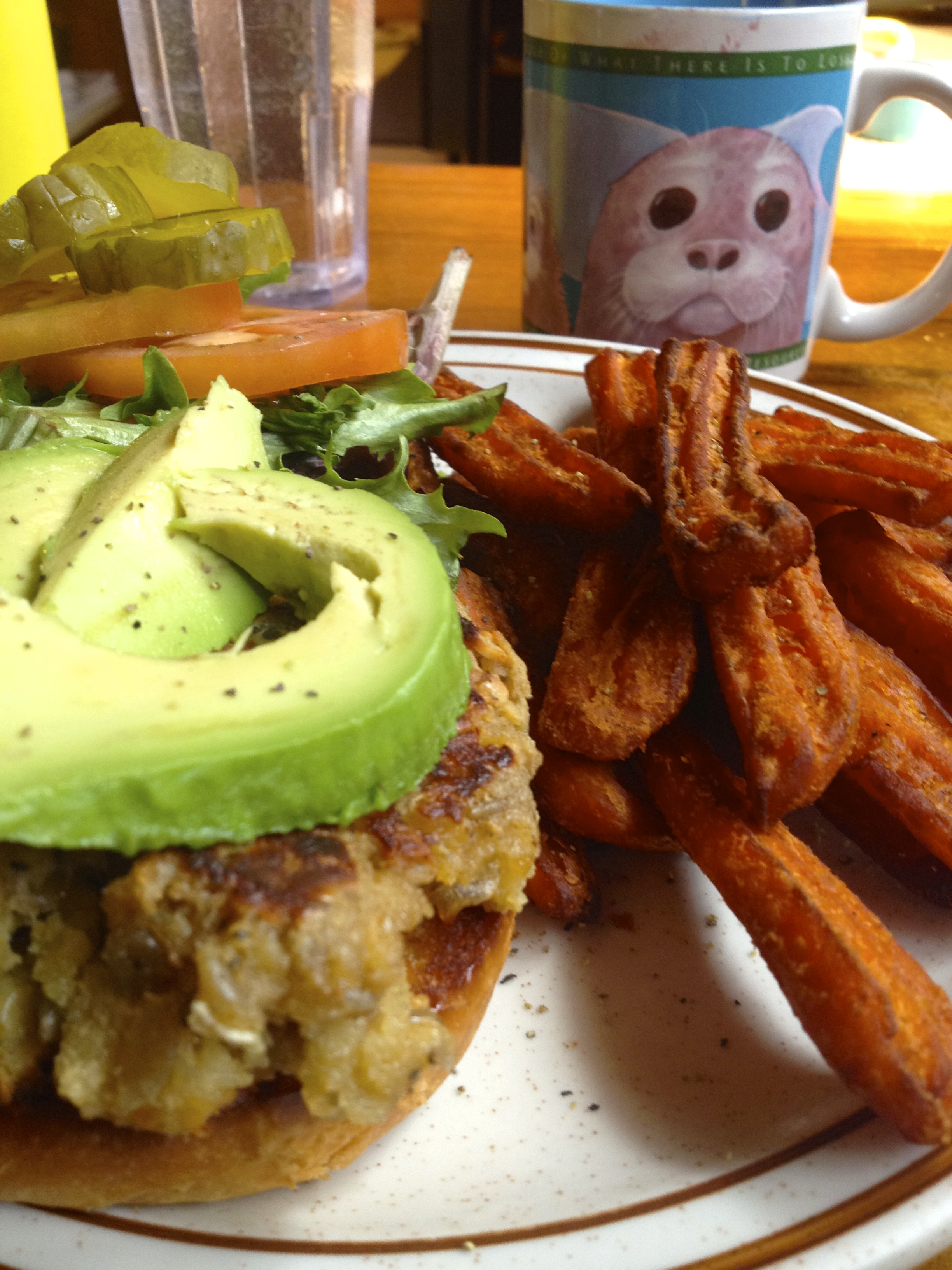 delectably fine lunch: veggie burger and sweet potato fries