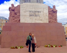 tania and wendy and a monument