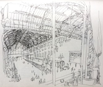 track side view, judith clancy drawing, 1979