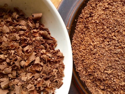 shaved and grated chocolate for topping