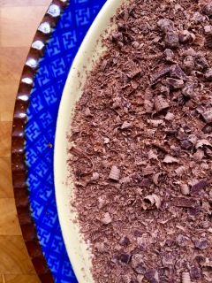 chopped chocolate adds texture to topping