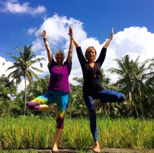 tree pose in rice field