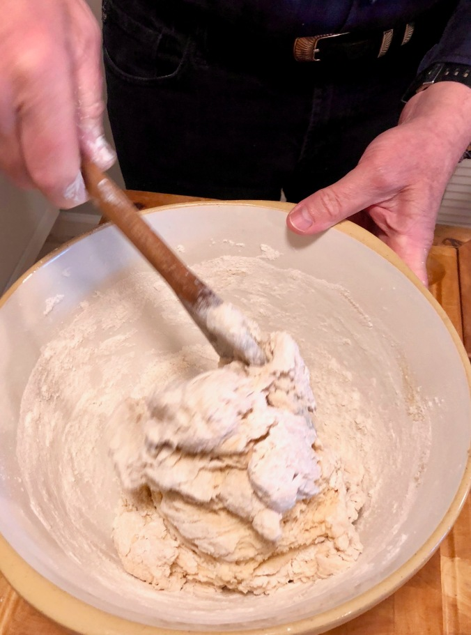 stir to mix flour, salt and yeast mixture